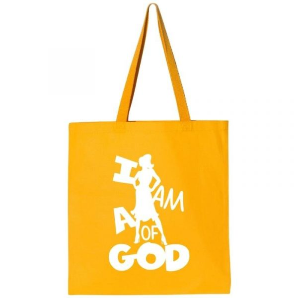 I Am A Woman Of God 1A Tote Bag Gold-White