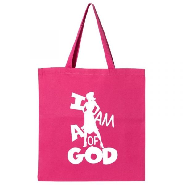 I Am A Woman Of God 1A Tote Bag Hot Pink-White