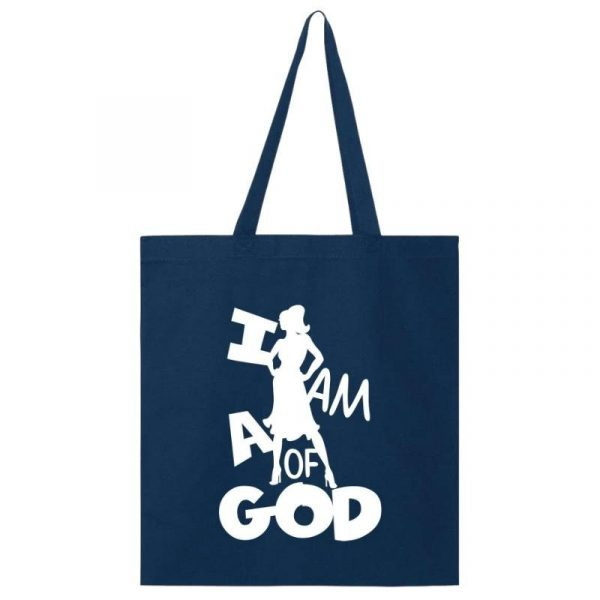 I Am A Woman Of God 1A Tote Bag Navy-White