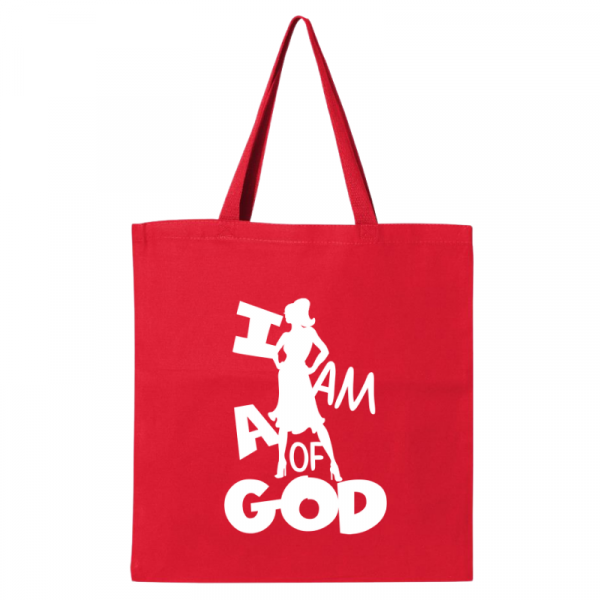 I Am A Woman Of God 1A Tote Bag Red-White
