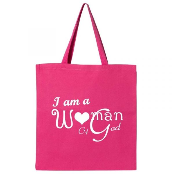 I Am A Woman Of God VBD Tote Bag Hot Pink-White