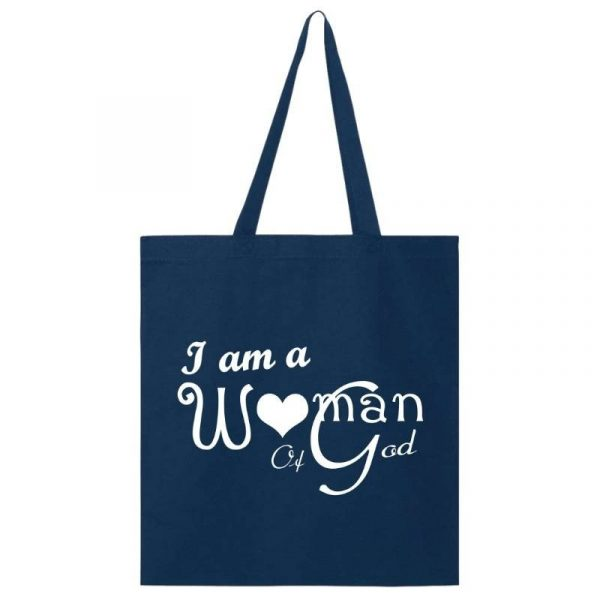 I Am A Woman Of God VBD Tote Bag Navy-White