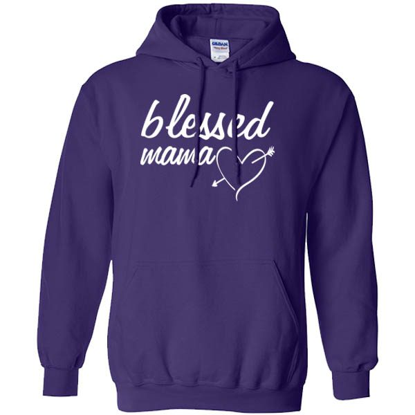 blessed mama purple hoodie white design 2
