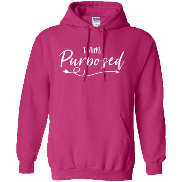i am purposed heliconia hoodie white design