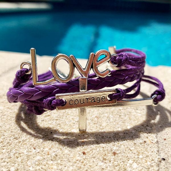 Love - Courage Cross Bracelet Purple And Silver