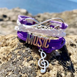 music infinite love bracelet purple and silver